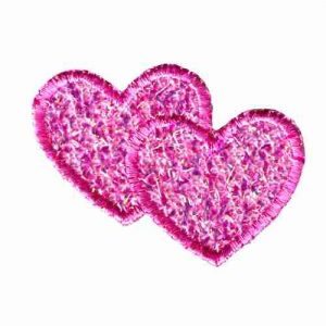 Iridescent Double Pink Hearts Iron On Patch Applique