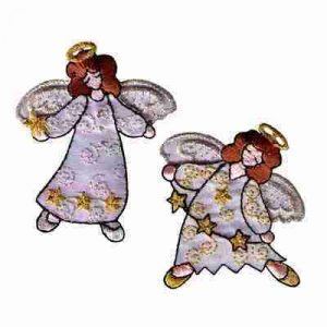 Floating Double Winged Angel Iron On Patch Applique
