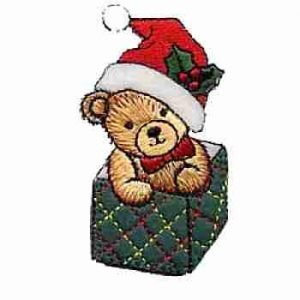 Christmas Bear in Holiday Box Iron on Patch Applique