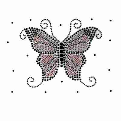 Butterflies - Black/Pink Rhinestud Butterfly Iron on Appliques