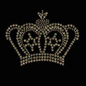 Gold crown hotfix applique