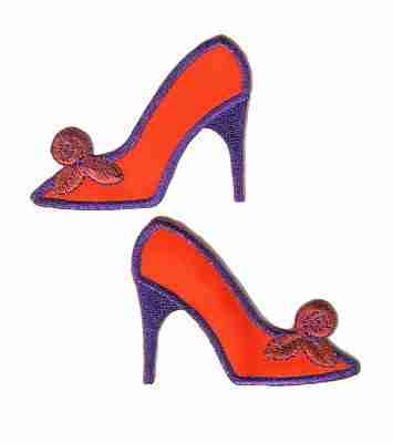 Red Hat Lady High Heel Shoe Right or Left Iron On Applique -So