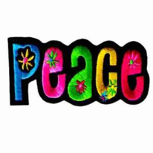 """Peace"" with Flowers Iron On Patch Applique"