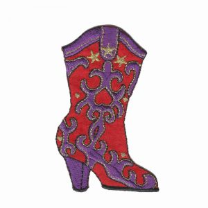 Red Hat Lady Cowgirl Boot Iron On Applique