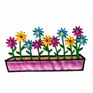 Colorful Flowerbed of Daisies Iron On Applique - 1 left!
