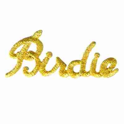 "Golf - ""Birdie"" in Metallic Gold Script Iron On Sports Patch"