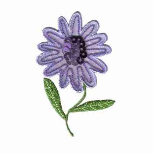 Lavender Sequined Flower Iron on Applique