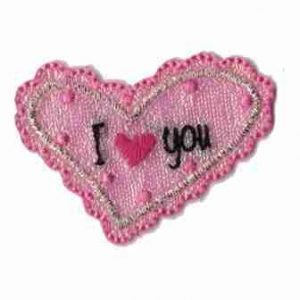 "Iridescent Pink ""I 'Heart' You"" Iron On Applique"