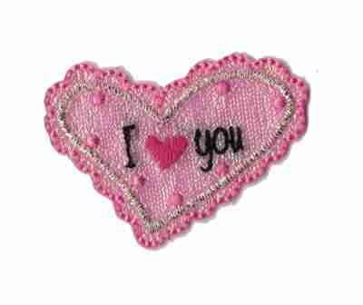 """Iridescent Pink """"I 'Heart' You"""" Iron On Applique"""