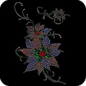 Christmas - Large Rhinestone/Stud Christmas Poinsettia Applique