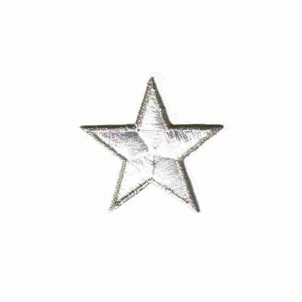 1.75 Inch White Stars with Silver Metallic Outline