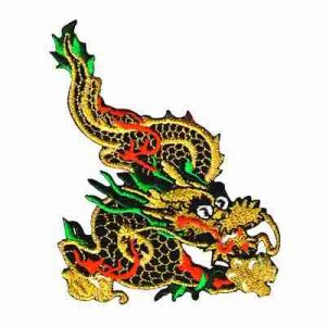 Dragons - Metallic Gold Chinese Dragon Iron On Patch Applique