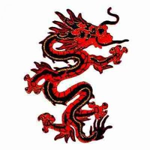 Dragons - Red/Black Large Asian Dragon Iron-On Embroidered Patch