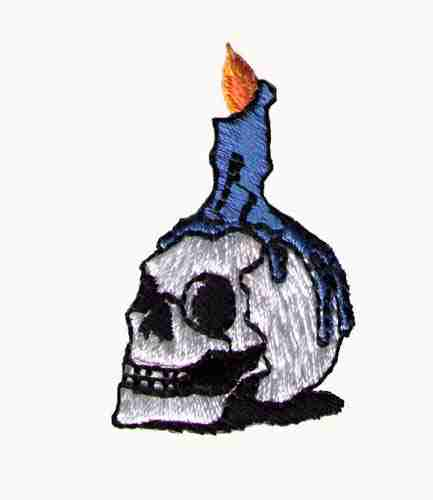 Halloween Skull with Candle Iron On Patch Applique