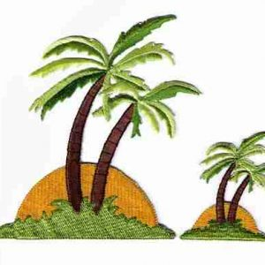 Two Palm Trees in Sunset -LARGE-Iron On Patch Applique