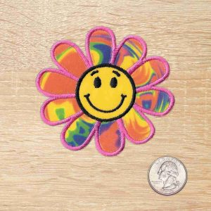 Tie Dye Happy Face Flower