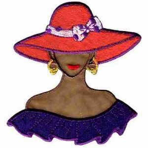 Tan Red Hat Lady w/Purple Shoulder Flounce Applique Small