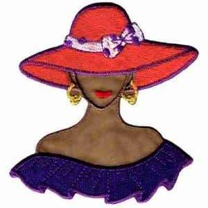 Tan Red Hat Lady w/Purple Shoulder Flounce Applique Small