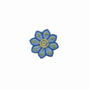 Small Single Blue Chiffon Daisy Iron On Floral Applique