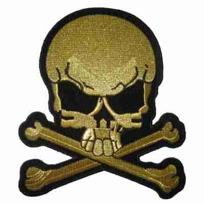 Large Skull & Crossbones in GOLD Iron On Patches
