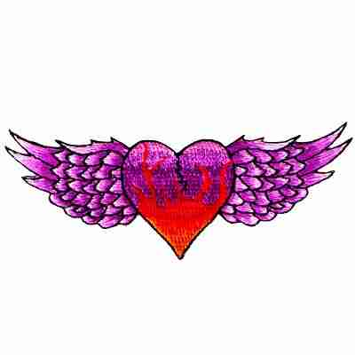 Red & Purple Winged Heart Iron On Patch Applique