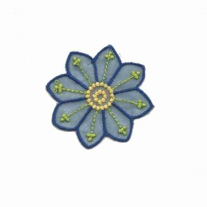 Large Single Blue Chiffon Daisy Iron On Floral Applique
