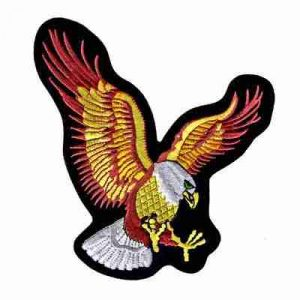 Large Eagle w/Talons Spread Iron On Biker Jacket Patch