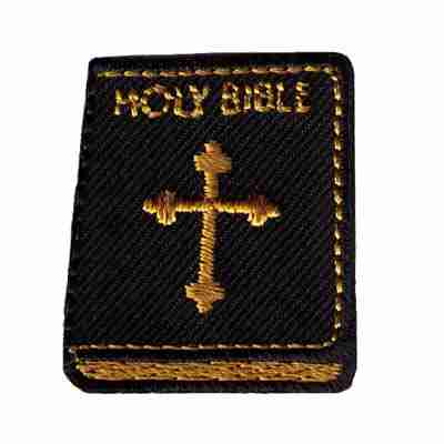Bible W//Cross Gold /& Silver Bible Embroidered Iron On Applique Patch
