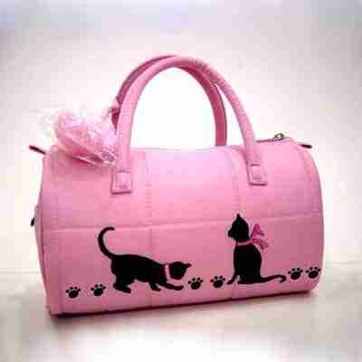 Sample 12 - Silhouetted Cats & Paw Print Purse - NOT FOR SALE