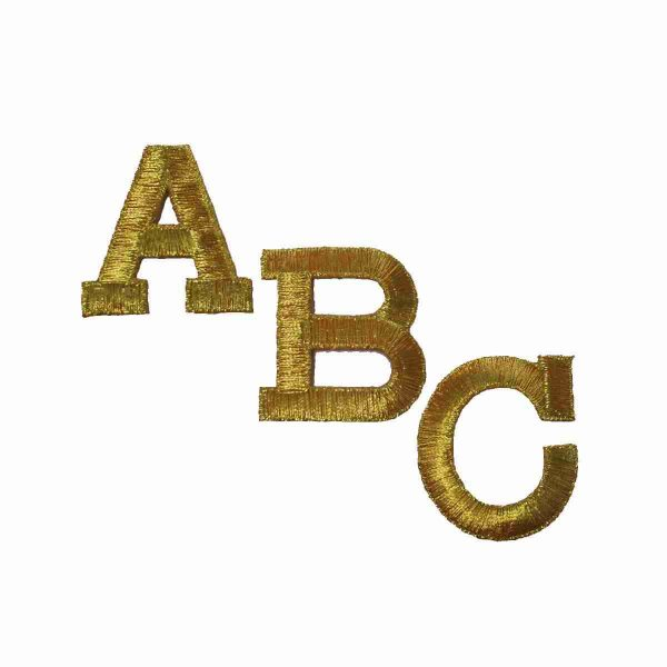 """Block Letters- METALLIC GOLD Iron On Letters (2""""H) Sold Separately"""