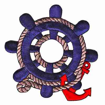Navy Blue Ship's Wheel with Anchor Nautical Patch