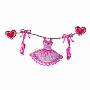 Dance - Heart String Tutu and Toe Shoes Dance Applique