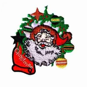 Christmas Santa in Wreath Iron On Holiday Patch Applique