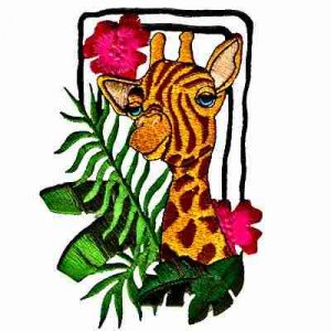 Giraffe Among Tropical Flowers Iron On Jungle Applique