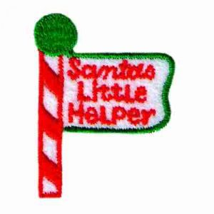 Christmas Santa's Little Helper Sign Post Iron On Holiday Appliq
