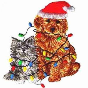 Christmas Puppy & Kitten with Lights Iron On Patch