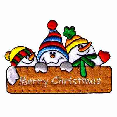 Christmas - 3 Snowmen with Merry Christmas Sign Iron On Patch