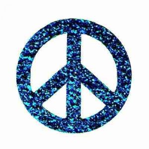Small Blue Glitter Peace Sign Iron On Patch Applique