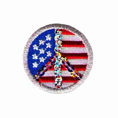 "1"" Sequin Peace Sign Over US Flag Iron on Patch Applique"