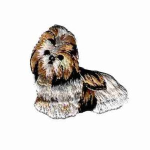 Dogs - Tan, Black and White Shih Tzu Iron on Dog Applique