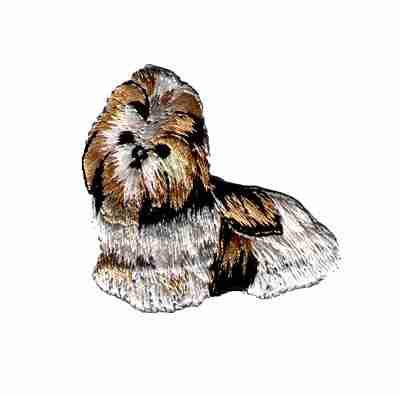 Dogs - Tan, Black and White Shih Tzu Iron on Dog Applique