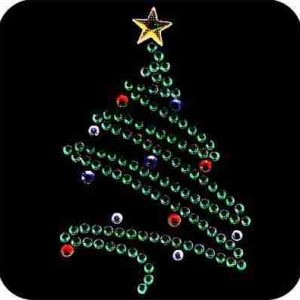 Christmas Tree in Rhinestones Iron On Holiday Applique