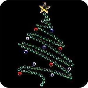 Christmas Tree in Rhinestones Iron On Holiday Applique