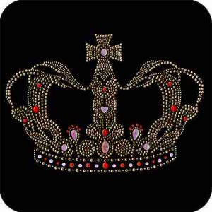 Crowns - Extra Large Queen's Crown Iron On Rhinestud Applique
