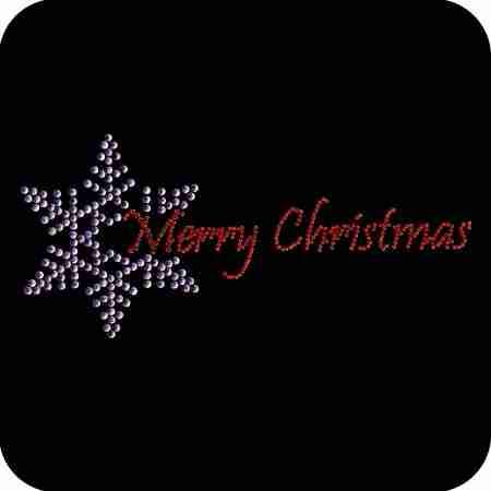 Christmas - Snowflake with Merry Christmas Rhinestone Applique