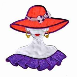 Large Red Hat Lady with Purple Flounce Iron On Applique