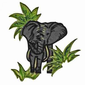 Elephant - Grey Elephant in Brush Iron on Jungle Patch Applique
