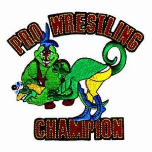 Wrestling - Large Lizards Pro Wrestling Champion Iron On Patch