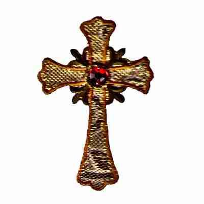 Gold Shimmer Cross w/Rhinestone Center Religious Applique