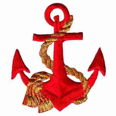 Red Anchor with Gold Rope Iron On Nautical Patch Applique